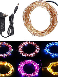 cheap -10m String Lights 100 LEDs 1 x 12V 2A Adapter 1 set Warm White / RGB / White Creative / Cuttable / Party 12 V