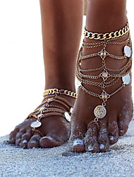 cheap -Barefoot Sandals Ankle Bracelet Simple Fashion Casual / Sporty Women's Body Jewelry For Street Daily Coin Alloy Silver Gold 1pc