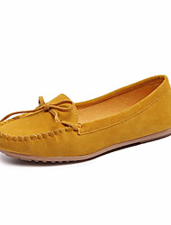 cheap -Women's Loafers & Slip-Ons Flat Heel Bowknot PU Casual Spring Black / Wine / Yellow / Daily