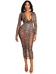 cheap -Women's Basic Loose Bodycon Sheath Chiffon Dress - Solid Colored Lace Cut Out Deep V Brown S M L XL
