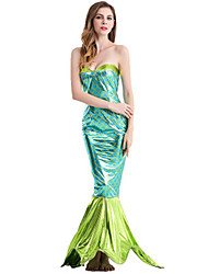 cheap -The Little Mermaid Cosplay Costume Masquerade Adults' Women's Mermaid and Trumpet Gown Slip Halloween Christmas Halloween Carnival Festival / Holiday Polyster Green Carnival Costumes Holiday