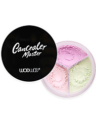 abordables -poudre de maquillage en poudre tricolore fixant contrôle de l'huile correcteur maquillage durable