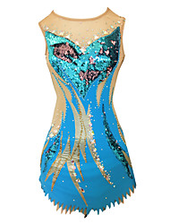 cheap -Rhythmic Gymnastics Leotards Artistic Gymnastics Leotards Women's Girls' Leotard Blue High Elasticity Handmade Print Jeweled Sleeveless Competition Ice Skating Rhythmic Gymnastics Figure Skating