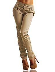 cheap -Women's Plus Size Harem / Chinos Pants - Solid Colored High Waist Black Navy Blue Khaki XXXL XXXXL XXXXXL