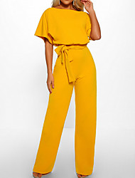 cheap -Women's Daily / Going out Elegant Black Blushing Pink Yellow Jumpsuit Onesie, Solid Colored Drawstring S M L Short Sleeve Summer