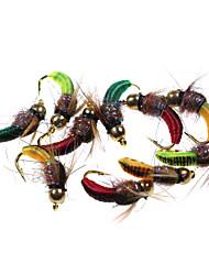 cheap -12# 6pcs Rock Worm Caddis nymph green/orange/red/dark green/mix colour Hot Spot Fly Fishing Flies lure baits