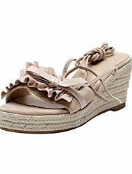 cheap -Women's Sandals Wedge Heel Open Toe Bowknot / Stitching Lace Sheepskin Casual / Sweet Walking Shoes Summer / Spring & Summer Almond / Green / Blue