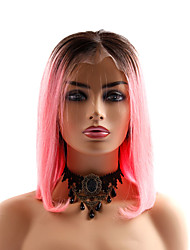 cheap -Human Hair Lace Front Wig Bob style Brazilian Hair Straight Pink Wig 130% Density Women Best Quality New New Arrival Hot Sale Women's Short Wig Accessories Human Hair Lace Wig Laflare