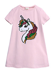cheap -Kids Toddler Girls' Sweet Cute Unicorn Solid Colored Sequins Short Sleeve Knee-length Dress Blushing Pink / Cotton