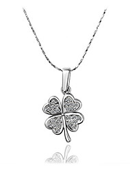 cheap -Women's Pendant Necklace Clover Sweet Fashion Chrome Imitation Diamond Gold Silver 45 cm Necklace Jewelry 1pc For Daily Festival