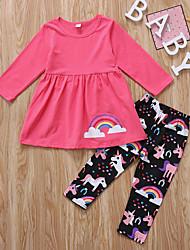Недорогие -Дети Дети (1-4 лет) Девочки Активный Классический Unicorn С принтом Длинный рукав Набор одежды Розовый