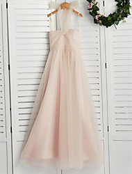 cheap -A-Line Halter Neck Floor Length Tulle Junior Bridesmaid Dress with Ruching