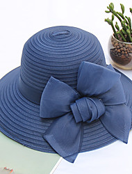 cheap -Women's Party Basic Cute Mesh Floppy Hat Straw Hat Sun Hat-Color Block Floral Print All Seasons Navy Blue Gray Purple