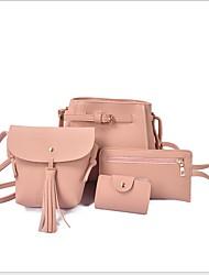 cheap -Women's PU Bag Set Solid Color 3 Pcs Purse Set Black / Brown / Dark Grey