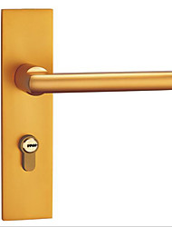 cheap -Space aluminum gold mute door lock indoor lock bedroom door bathroom door lock double tongue handle lock