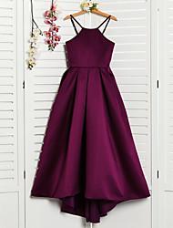 cheap -A-Line Halter Neck Asymmetrical Satin Junior Bridesmaid Dress with Pleats