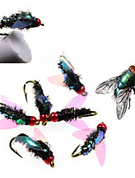 cheap -12# 4pcs Brass Bead Head Slowly sinking High Quality Peacock Nymph Trout Fishing Flies Artificial Insect Bait Lure Fishing