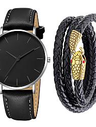 cheap -Men's Dress Watch Quartz Minimalist Chronograph Analog Golden+Black Black Black / Brown / One Year / Leather