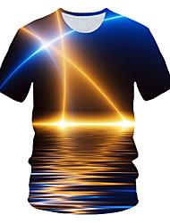abordables -Tee-shirt Taille EU / US Homme, Bloc de Couleur / 3D / Graphique Imprimé Soirée Chic de Rue / Exagéré Col Arrondi Bleu Roi / Manches Courtes