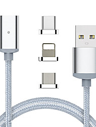 cheap -Lightning Cable 1 to 3 Stainless steel USB Cable Adapter For iPhone
