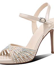 cheap -Women's Sandals Stiletto Heel Peep Toe Rhinestone / Sparkling Glitter Nappa Leather Casual / Sweet Walking Shoes Summer / Spring & Summer Black / Almond