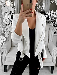 cheap -Women's Shirt Collar Faux Leather Jacket Regular Solid Colored Daily Basic White Black S M L XL