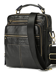 cheap -Men's Zipper Cowhide Crossbody Bag Solid Color Black / Fall & Winter