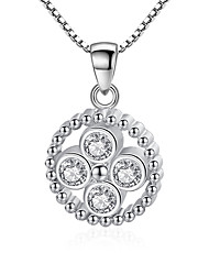cheap -Women's Cubic Zirconia Pendant Necklace Romantic Chrome Silver 45 cm Necklace Jewelry 1pc For Gift Daily