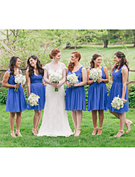 cheap -A-Line Plunging Neck Knee Length Chiffon Bridesmaid Dress with Draping / Ruching