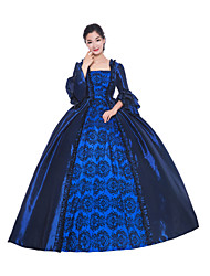 cheap -Princess Maria Antonietta Floral Style Rococo Victorian Renaissance Dress Party Costume Masquerade Women's Lace Costume Ink Blue Vintage Cosplay Christmas Halloween Party / Evening 3/4 Length Sleeve