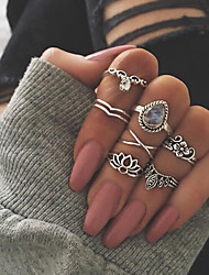 cheap -Women's Ring Set Midi Rings Stackable Rings 7pcs Gold Silver Opal Alloy Unique Design Bohemian Ethnic Gift Daily Jewelry Geometrical Lotus Cool Lovely