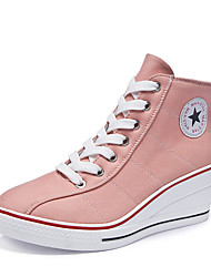 cheap -Women's Sneakers Sexy Shoes Wedge Heel Round Toe Buckle Canvas Casual / Minimalism Spring & Summer Blue / Pink / Leopard