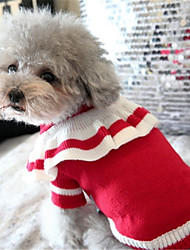 cheap -Dog Sweater Winter Dog Clothes Red Blue Costume Chinlon Bowknot Casual / Daily XS S M L