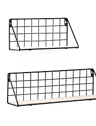 cheap -Hanging Iron Wire Storage Rack with Wooden Board Living Room Wall Decoration