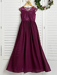 cheap -A-Line V Neck Maxi Chiffon / Lace Junior Bridesmaid Dress with Appliques