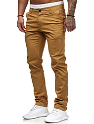 cheap -Men's Pants Casual Active Cotton Daily Wear Jogger Pants Chinos Pants Solid Colored Full Length Classic Zipper Vintage White Black Red