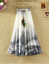 cheap -Women's Basic / Boho A Line / Swing Skirts - Floral Chiffon / Print Purple Yellow Blushing Pink S M L / Loose