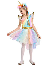 cheap -Unicorn Dress Cosplay Costume Wings Girls' Movie Cosplay A-Line Slip Cosplay Halloween Blue Dress Wings Headwear Christmas Halloween Carnival Tulle Cotton