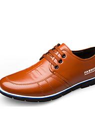 Недорогие -Муж. Кожаные ботинки Кожа Весна лето Английский Туфли на шнуровке Доказательство износа Черный / Синий / Коричневый / Комфортная обувь