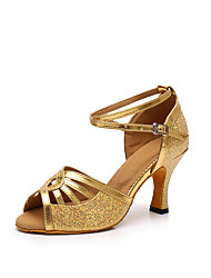 cheap -Women's Dance Shoes PU Latin Shoes Glitter / Paillette Heel Flared Heel Customizable Gold / Black / Silver / Performance / Leather / Practice