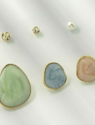 cheap -Women's Stud Earrings Geometrical Stylish Unique Design Trendy Imitation Pearl Earrings Jewelry Light Blue For Party Daily Festival 6pcs