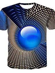 cheap -Men's Plus Size Geometric 3D T-shirt Daily Wear Round Neck Blue / Short Sleeve