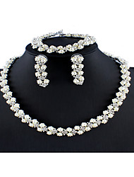 cheap -Women's White Bridal Jewelry Sets Link / Chain Totem Series Dainty Cute Elegant Imitation Pearl Rhinestone Earrings Jewelry Silver For Wedding Party Engagement Holiday Festival 1 set