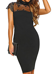 cheap -Women's Black Dress Basic Cocktail Party Sheath Solid Colored Crew Neck Patchwork S M