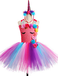 cheap -Flower Unicorn Dress Children Kids Dresses for Girls Off Shoulder Girl Tutu Vestidos