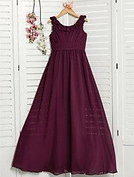 cheap -A-Line Jewel Neck Floor Length Chiffon Junior Bridesmaid Dress with Ruching / Ruffles