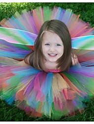 cheap -Kids Toddler Little Girls' Dress Red Rainbow Patchwork Backless Mesh Patchwork Rainbow Knee-length Sleeveless Active Cute Dresses