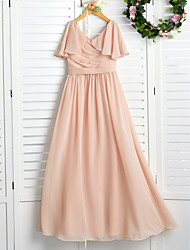 cheap -A-Line Jewel Neck Maxi Chiffon Junior Bridesmaid Dress with Ruching / Ruffles / Wedding Party