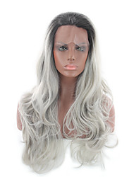 cheap -Human Hair Lace Wig Body Wave Middle Part Lace Front Wig Blonde Long Silver Synthetic Hair 26 inch Women's Women Blonde