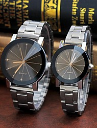 cheap -Couple's Steel Band Watches Quartz Stopwatch Analog Casual Fashion - Black Coffee